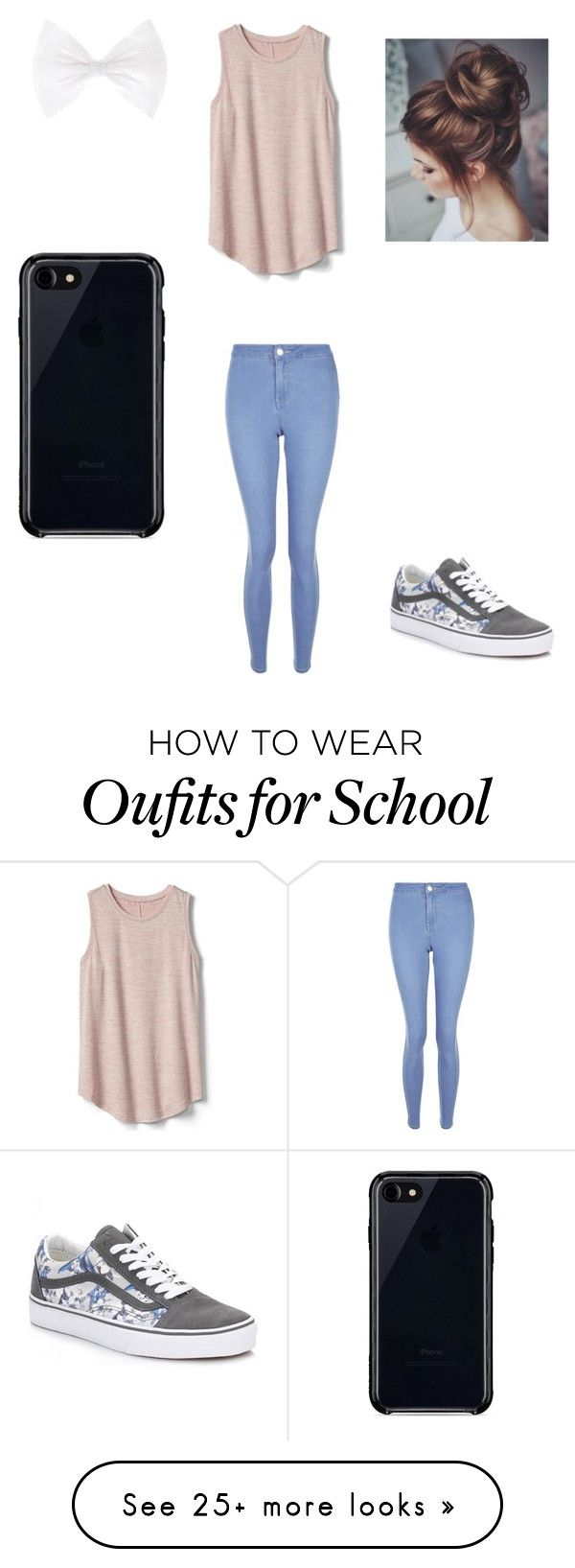 """Simple school day"" by kiddoshooter on Polyvore featuring New Look, Gap, Vans and Belkin"