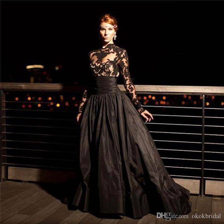 Abiti Donna Eleganti Lunghi Da Sera 2016 New Elegant Ball Gown Black Taffeta Evening Dresses With Long Sleeves Black Maxi Evening Dress Bolero Jackets For Evening Dresses From Okokbridal, $130.65| Dhgate.Com