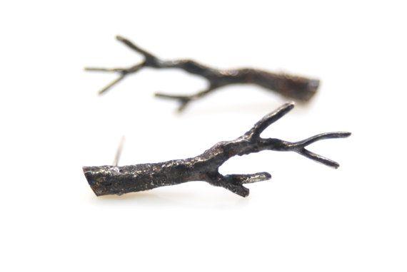 sterling silver twig earrings branch earrings by Annealed Heart