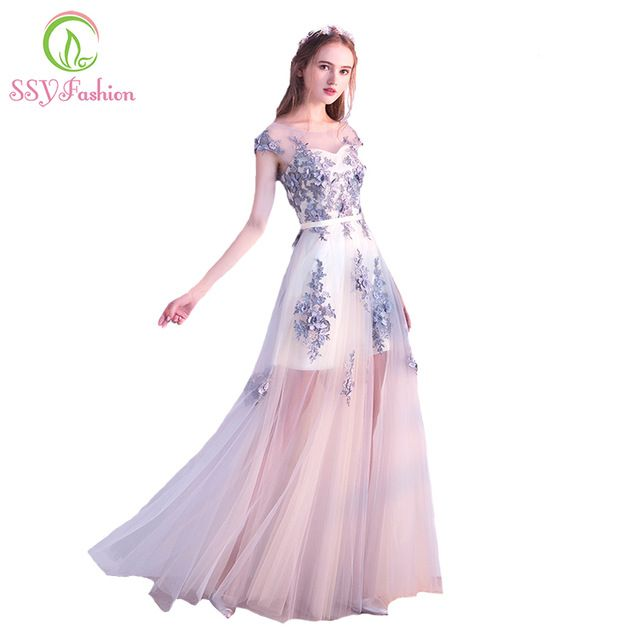2017 Novo Vestido de Noite SSYFashion Light Grey Lace Flor de Tule longo do baile de Finalistas do Banquete Vestido Formal Elegante Vestido de Festa Robe De sarau