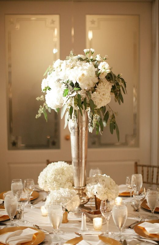 Some of the centerpieces will be tall silver vases filled with white  hydrangeas and seasonal greenery155 best Vases Mercury  tall  etc images on Pinterest   Flower  . Tall Flower Vases For Weddings. Home Design Ideas