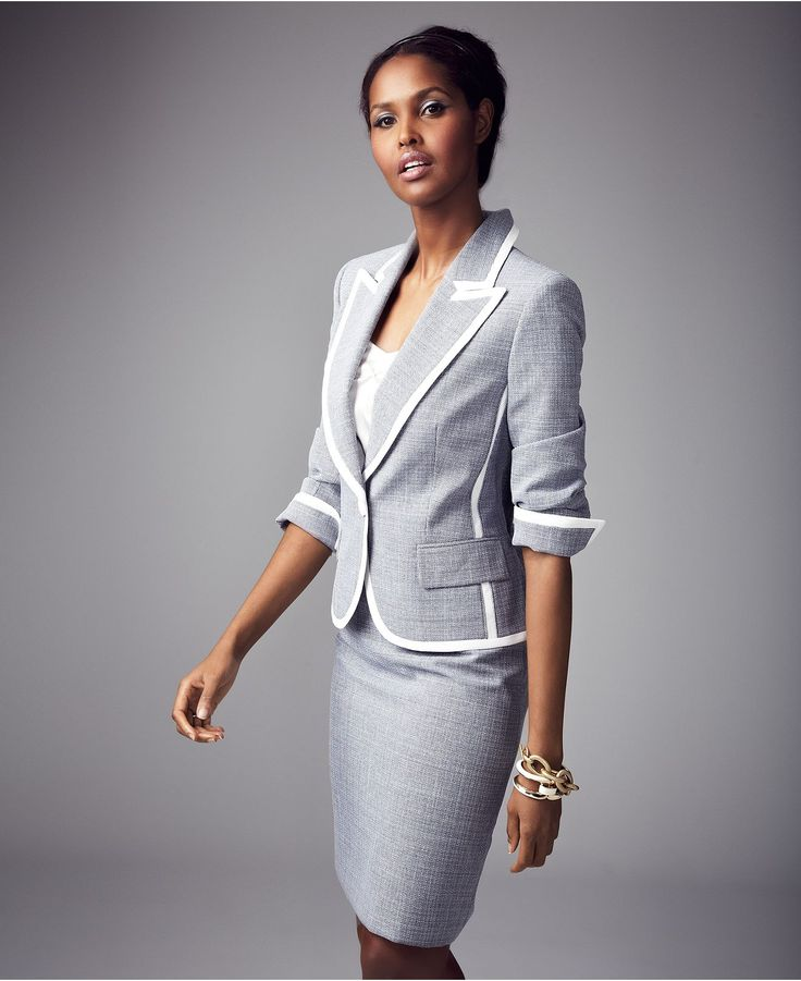 Evan Picone Suit, Single-Button Actually, I likey.. Tweed Jacket & Pencil Skirt - Womens Suits & Suit Separates - Macy's