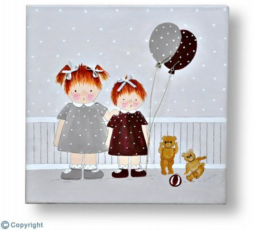 Cuadro infantil personalizado: Hermanitas con globitos (ref. 10027)