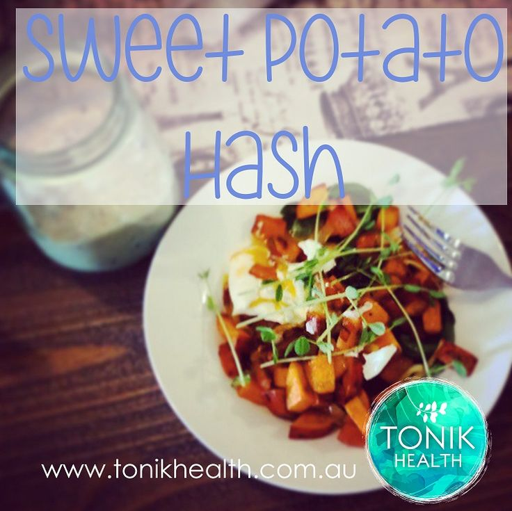Sweet potato hash with poached eggs for breakfast.  https://www.tonikhealth.com.au/recipes/sweet-potato-hash/  #recipe #nutrition #healthy #breakfast