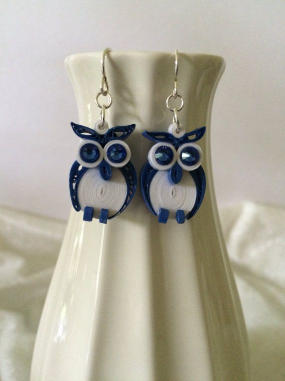 Quilled Owl Paper Earrings