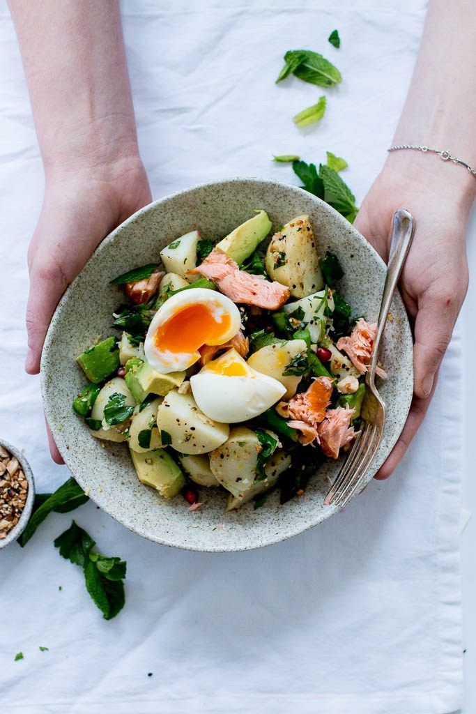 Dukkah, Asparagus & Hot Smoked Salmon Potato Salad | The Brick Kitchen