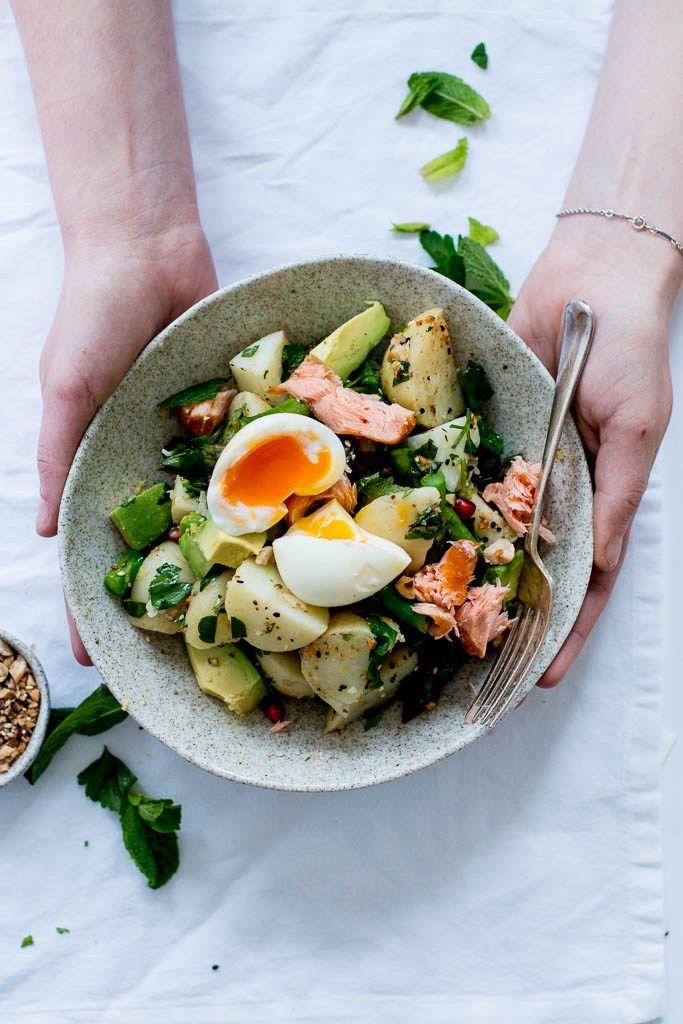 Dukkah, Asparagus & Hot Smoked Salmon Potato Salad | The Brick Kitchen