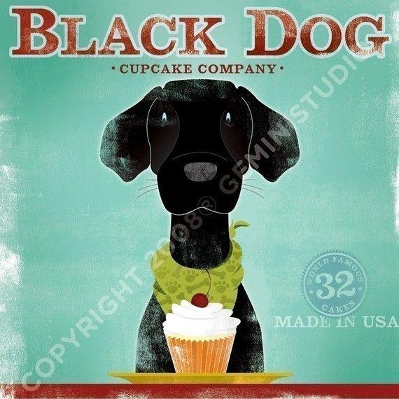 Black Dog labrador CUPCAKE COMPANY graphic artwork by geministudio,