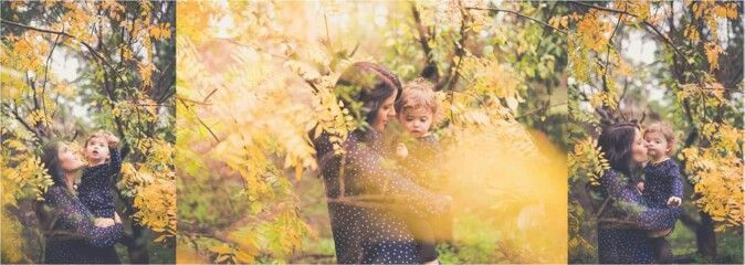 Autumn garden mother daughter portrait