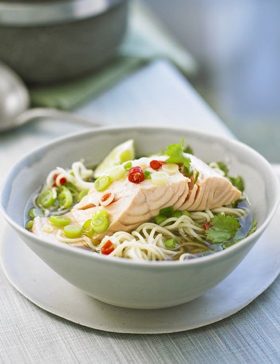 Salmon is a great choice for a quick midweek supper for 2. This Asian-inspired recipe cooks salmon in a zingy broth with chilli and soy then serves over instant noodles. A complete meal in a bowl.