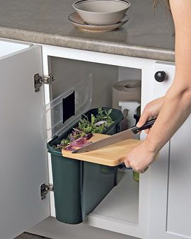 Slimline Compost Caddy. A slim compost bin that tucks away in undercounter cabinets