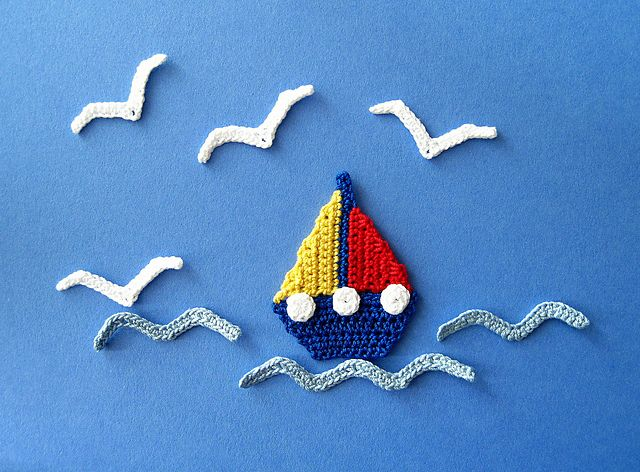 Ravelry: Sailboat, Seagull and Waves Applique Crochet PATTERN pattern by GoldenLucyCrafts (on Etsy).