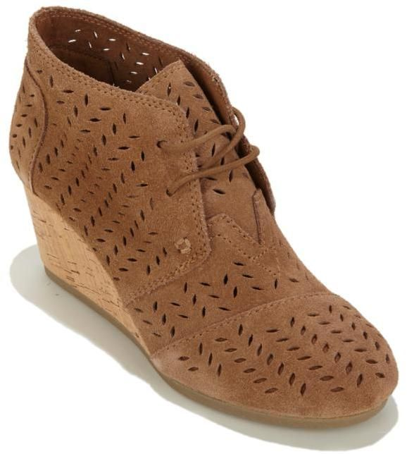 Toms Desert Wedge Perforated Suede Lace-Up Bootie