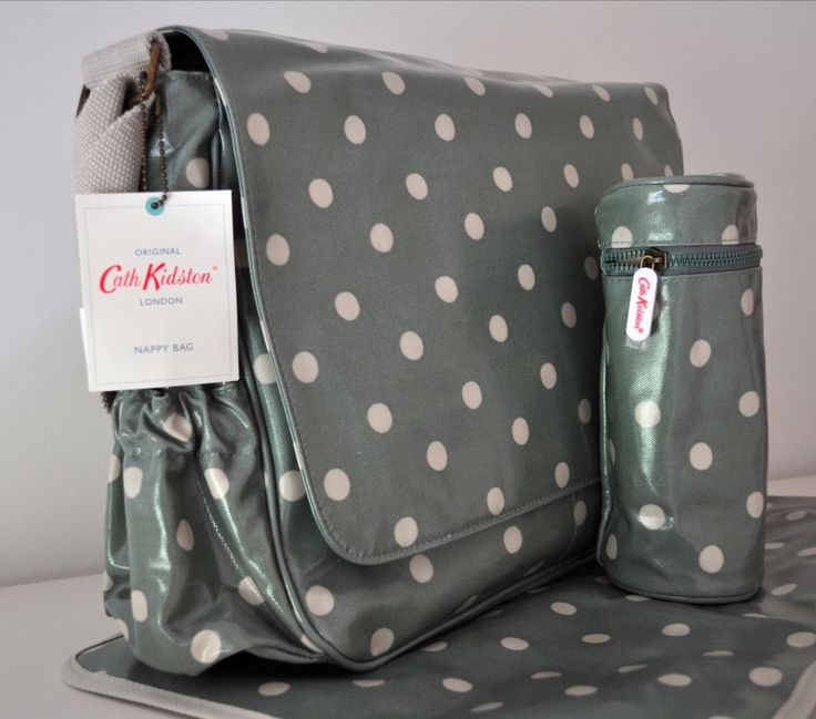 CATH KIDSTON NAPPY CHANGING BABY DIAPER BAG Sage Green Olive Spot Mat Bottle #CathKidston