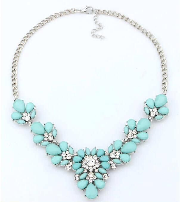 Gold Chain Colorful Pendant Necklace For Women Handmade Statement Crystal Flower