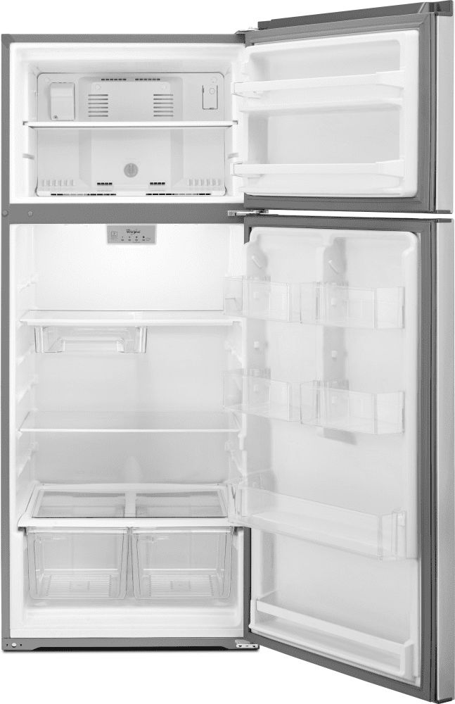Whirlpool WRT518SZFG 28 Inch Top-Freezer Refrigerator with Pocket Handles, Flexi-Slide Bin, Gallon Door Storage, 17.6 cu. ft. Interior, Frameless Glass Shelving, 2 Humidity Controlled Crisper Drawers and Electronic Temperature Controls: Dolos Steel