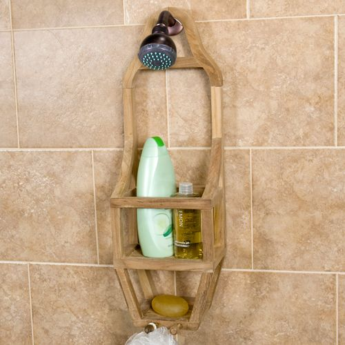 Comprised Of Teak Wood This Durable Shower Caddy Keeps Bath Accessories Organized And Easily Accessible Left Unsealed It Can Be Finished If
