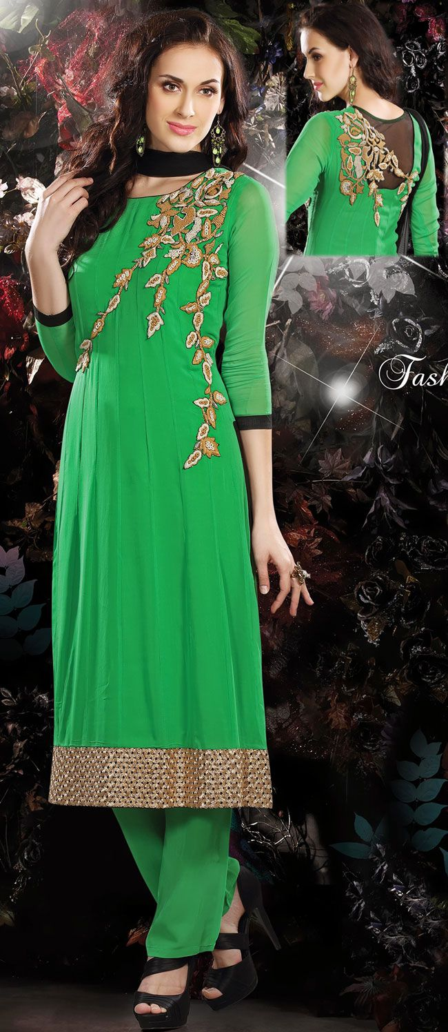Green Faux Georgette Anarkali Salwar Kameez - IG7687 USD $ 122