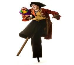 Book our Pirate Stilt Walker for children's parties in London & the UK.