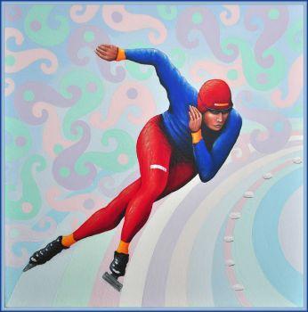 Winter Olympics  Artist: Howard, Cliff Artwork title: Racing Ice Skater