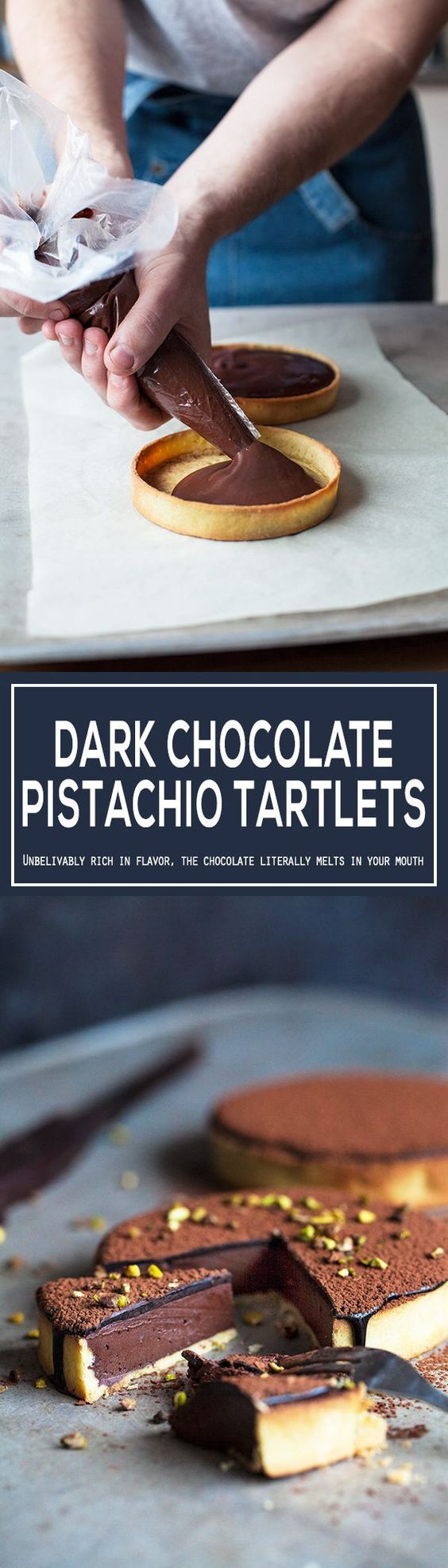 The best dark chocolate tart with a silky cacao glaze and pistachios. It is really easy to make, easier than it looks. Made with homemade tart shells with the most flaky crust ever. Simple recipe, beautiful dessert. | jernejkitchen.com