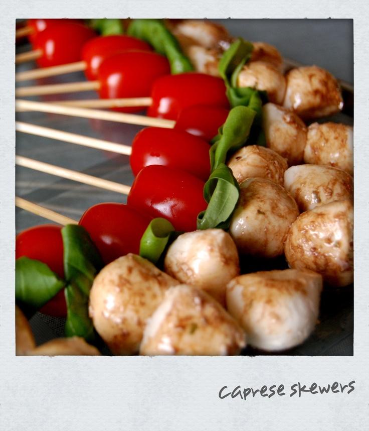 Best party snack!!  Cherry tomato + basil leaf + fresh mozzarella + balsamic