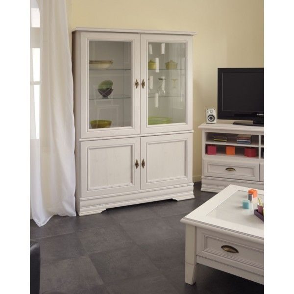 Parisot Elise Display cabinet in Memphis Pine - a beautiful whitewash pine perfect for traditional or modern homes