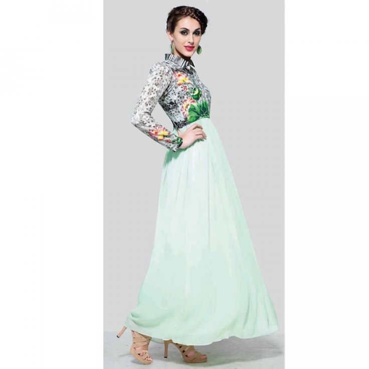 White and Green Digital Printed Anarkali Suit