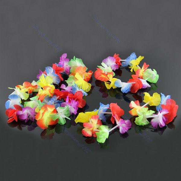 4pcs Hawaiian Flower Necklace Lei Headband Anklet Fancy Dress Garland Beach Hula-F1FB