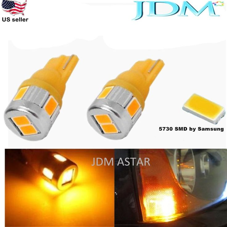 JDM ASTAR T10 Wedge 12V Super Bright 5730 SMD 194 168 2825 Amber LED Light Bulbs #JDMASTAR