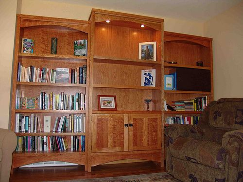 cherry bookcase with feet