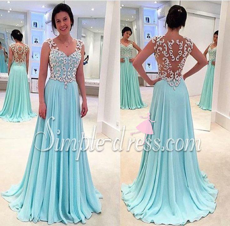 prom dress, 2016 prom dress, light sky blue prom dress, long chiffon prom dress