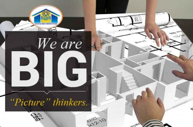 We are big picture thinkers We as #Cocofas #SMR #Constructions are creative, innovative and highly perceptive of patterns and connections in the construction environment. We think big and encounter all the great deal in the field of construction We have been binded by the brilliance of visionaries. We change the #world how we think