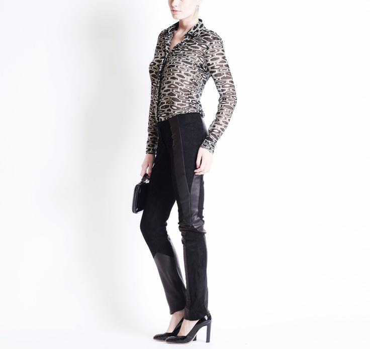 Octavio Pizzarro SS2013 Print Blouse with Leather pants