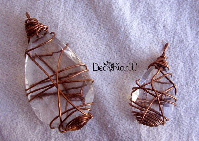 """decoriciclo: Ciondoli di vetro e rame, da riciclo lampadario + """"INIZIATIVE IN CORSO"""" #9"""