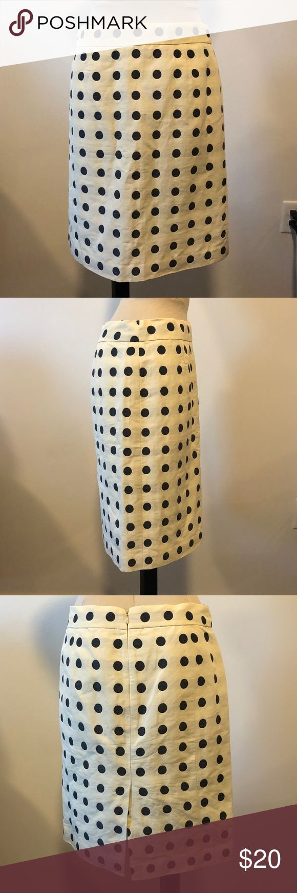 """J. Crew Polk a dot Ivory Navy Pencil Skirt 8 work J. Crew Polk a dot off white navy skirt. Perfect for work to bring a pop to your outfit. Size 8. Approx 22"""" in length. J. Crew Skirts A-Line or Full"""
