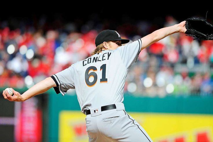 Conley showing off the form:    Miami Marlins starting pitcher Adam Conley (61) throws against the Washington Nationals during the first inning at Nationals Park on April 7.   -       © Brad Mills-USA TODAY Sports