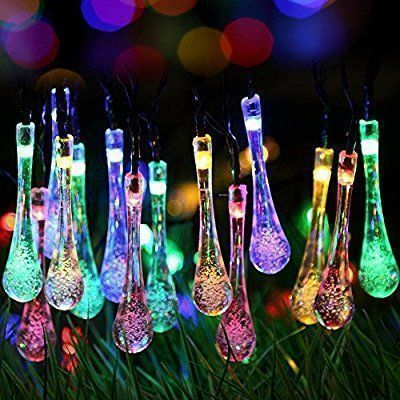 Uping Solar powered LED Fairy Lights 8 Mode String light 30 water drop 6.5M multi color waterproof for Indoor Outdoor Party Garden Christmas Halloween Wedding Home Bedroom Yard Deck Decoration: Amazon.co.uk: Garden & Outdoors #indoorhalloweendecorations #halloweenpartydecor #outdoorhalloweendecorations