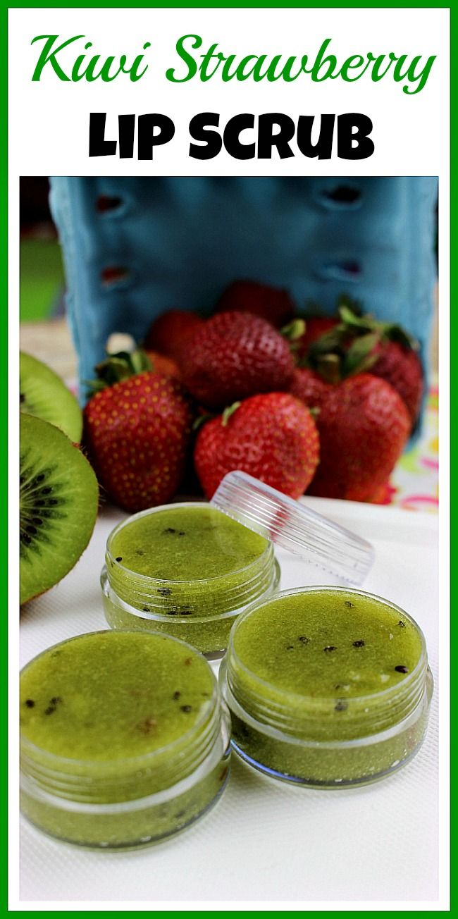 This all-natural homemade kiwi strawberry lip scrub uses fresh fruit! It's an inexpensive and easy way to moisturize and refresh your lips!