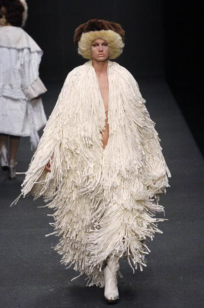 Sculptural Fashion - textured fringe dress with layered volume // Michiko Koshino F/W 2005