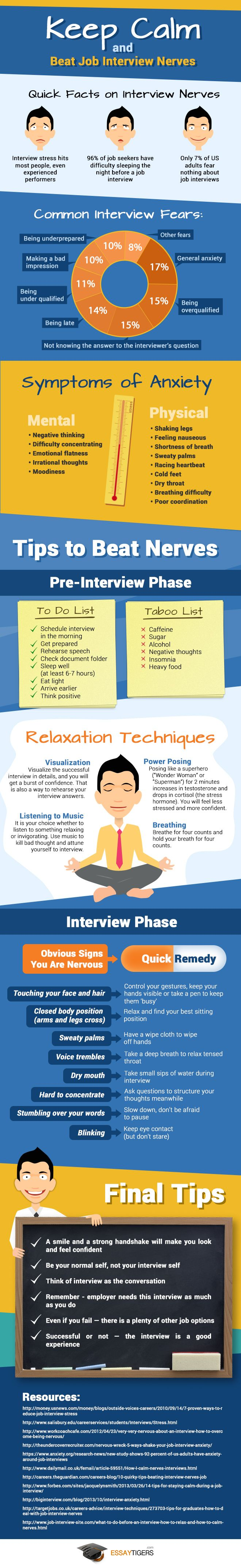 How to Stay Calm with Job Interviews [INFOGRAPHIC] http://theundercoverrecruiter.com/interview-anxiety-preparation/