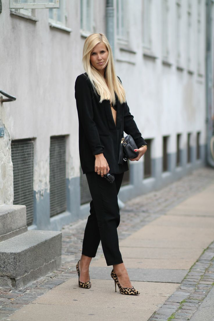 Outfit - black suit and leopard pumps. See more on natulia.com