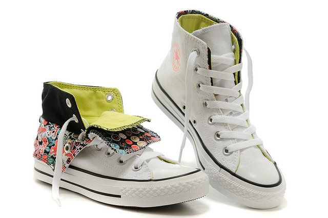 b49ec13157391a  converse Printed Double Tongue Converse Womens Chuck Taylor All Star High  Tops White Green Sneakers