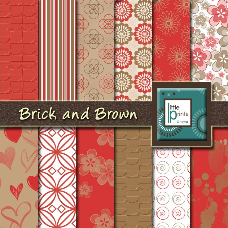 Digital Paper - Brick and Brown, Digital scrapbook paper, brick red, red and brown, printable paper, red flower paper, digital background - pinned by pin4etsy.com