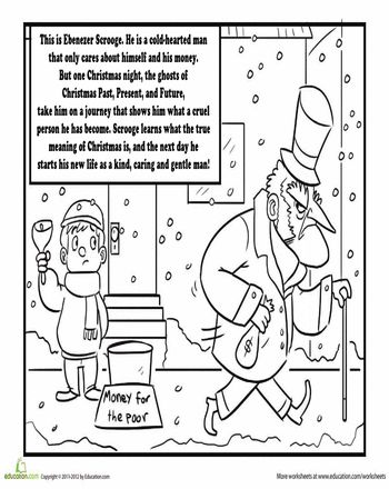 charles dickens 39 a christmas carol coloring page home schooling winter holidays christmas. Black Bedroom Furniture Sets. Home Design Ideas