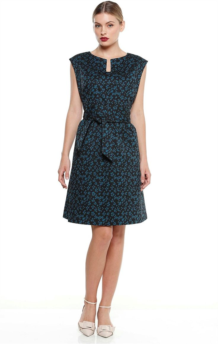 PORTO A-LINE CAP SLEEVE KNEE LENGTH DRESS IN BLACK TEAL LEOPARD