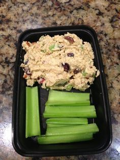 queen of eating clean: chicken salad atop little celery canals.