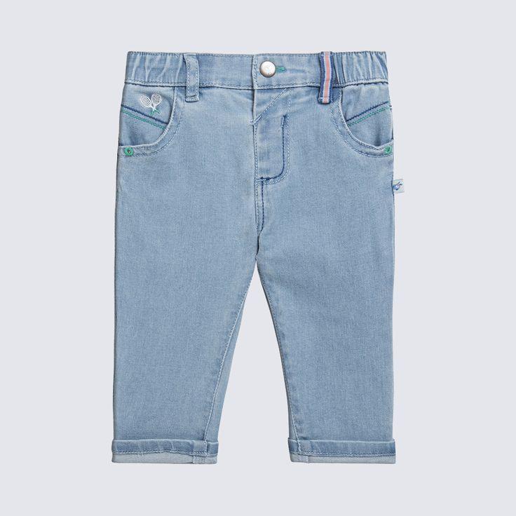 Sergent Major vous propose ce jeans garcon bleu pour les 3 à 24 mois du theme Jeu, set et match de la collection Ete