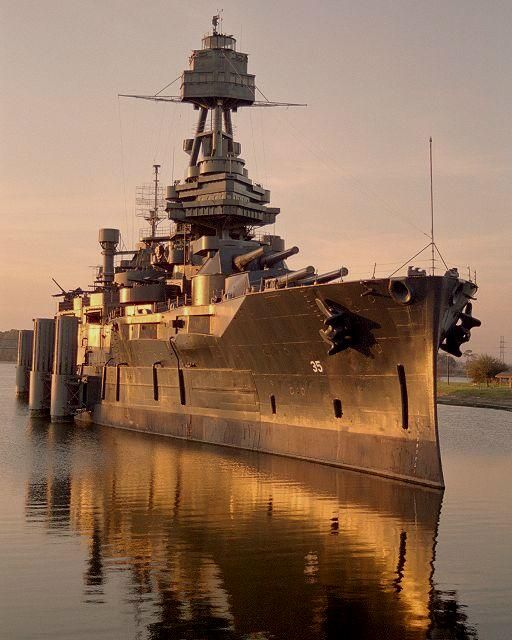 Battleship USS Texas, veteran of World Wars I & II, moored at San Jacinto Battlefield.