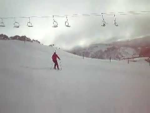 "Kate Skis Down the ""Big D"" at Mt Hotham"